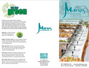 Marios Catering Brochure
